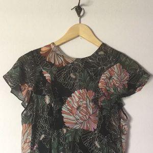 Zara flutter sleeve delicate floral lined dress